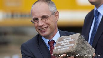 Director Paweł Machcewicz during the laying of the museum's foundation stone