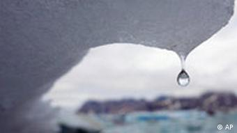 Drop of water coming off an iceberg in Greenland