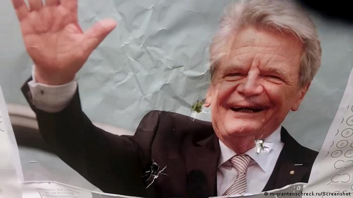 A photo of then-president Joachim Gauck that had been used for target practice posted on the Migrantenschreck website