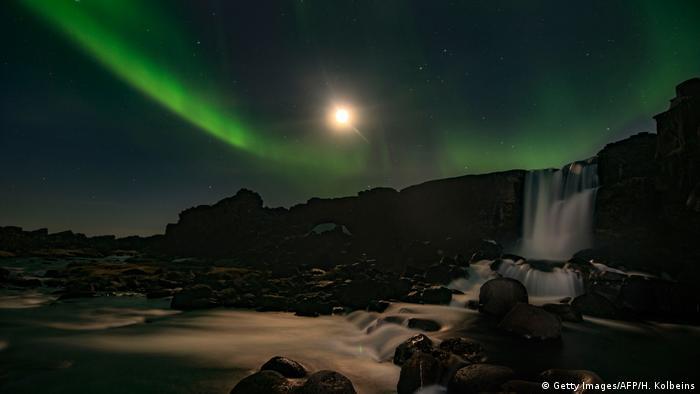 Полярное сияение над Исландией.