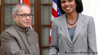 Indian External Affairs Minister Pranab Mukherjee with former US Secretary of State Condoleezza Rice