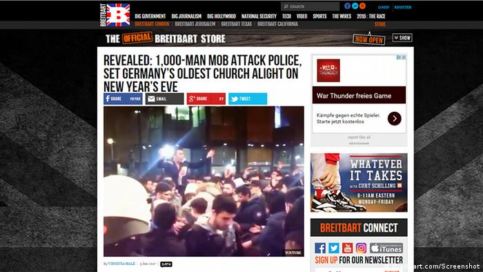 A screenshot of the 'Breitbart' article mentioned in the story