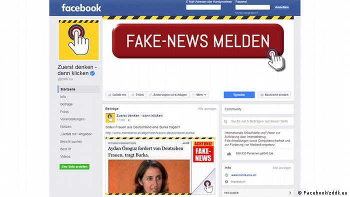 Screenshot der Facebookseite Zuerst denken - dann klicken (Foto: Facebook/zddk.eu)