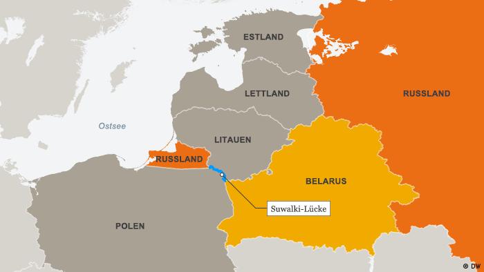 Karte Suwalki Lücke Deutsch