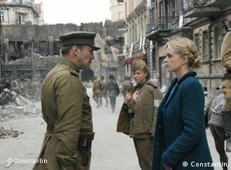 A scene from the movie: A Young German woman talks to Russian officer in post-war Berlin