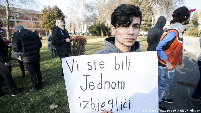 Prosvjed migranata ispred hotela Porin u Zagrebu 2017. godine