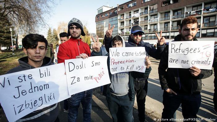 Kroatien Proteste von Migranten in Zagreb