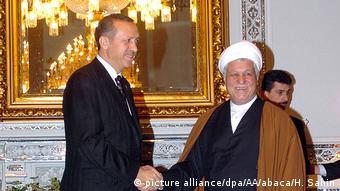 Tehran Präsident Akbar Hashemi Rafsanjani und Recep Tayyip Erdogan