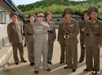 North Korean leader Kim Jong Il, during his visit to a military unit at an unknown location in North Korea.
