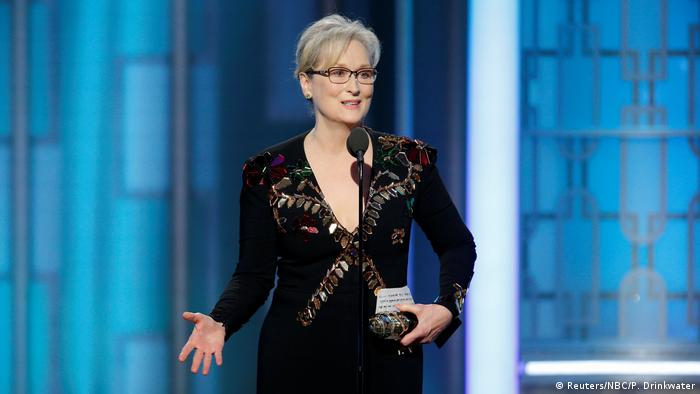 Meryl Streep gives a speech at the Golden Globes 2017. (Reuters/NBC/P. Drinkwater)
