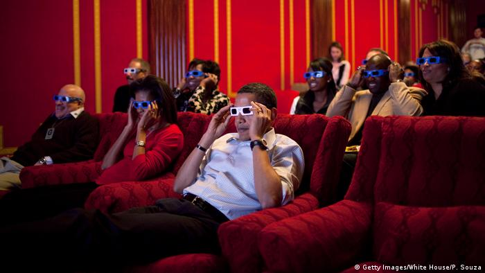 Obama and others in the White house movie theater (Getty Images/White House/P. Souza)