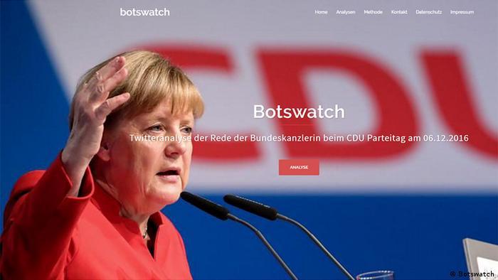 Screenshot der Seite Botswatch