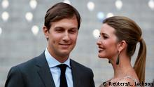 FILE PICTURE: Donald Trump's daughter Ivanka Trump arrives with husband Jared Kushner at the Vanity Fair party to begin the 2012 Tribeca Film Festival in New York, April 17, 2012. REUTERS/Lucas Jackson/File Picture