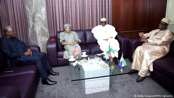 The presidents of Ghana, Liberia, Nigeria and Senegal during a regional summit on Gambia in Abuja.