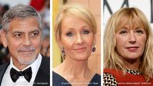 Bildkombo George Clooney (l), J.K. Rowling (m), Cindy Sherman (r)