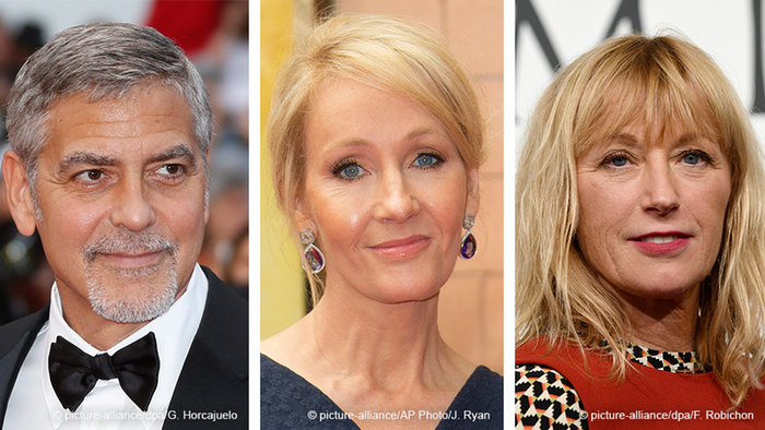 George Clooney (l), J.K. Rowling (m), Cindy Sherman (r)