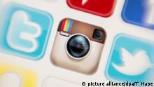11.12.2016 - Das Icon der Fotoplattform Instagram ist auf einem Monitor zu sehen, während weitere Icons daneben angeordnet sind, aufgenommen am 11.12.2016 in München (Bayern). Foto: Tobias Hase/dpa | Verwendung weltweit