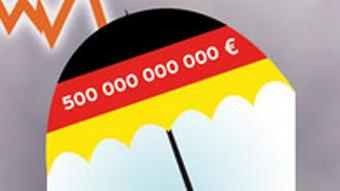 An umbrella with the German flag's colors has 500 billion euros written across it. Thunder in background.