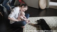 Mutter Baby und Hund