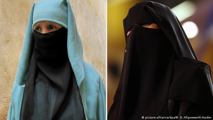 Bildkombi Niqab Nikab Marokkanische Burka Burka Gewand Religion (picture-alliance/dpa/W. G. Allgoewer/A.Haider)