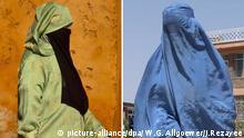 Kombibild Marokkanische Burka Afghanische Burka