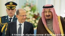 Saudi King Salman bin Abulaziz Al-Saud welcomes Lebanon's President Michel Aoun in Riyadh, Saudi Arabia, January 10, 2017. Bandar Algaloud/Courtesy of Saudi Royal Court/Handout via REUTERS ATTENTION EDITORS - THIS PICTURE WAS PROVIDED BY A THIRD PARTY. FOR EDITORIAL USE ONLY.