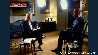 Screenshot of Obama's interview with Uvda Programm (http://www.haaretz.com)