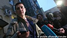 ST PETERSBURG, RUSSIA - JANUARY 9, 2017: Yoga teacher Dmitry Ugai talks to reporters as he appears at Judicial Sub-district 211 magistrate court over violation of Russia's newly introduced legislation which bans missionary activity by unregistered organisations and individuals. Peter Kovalev/TASS  