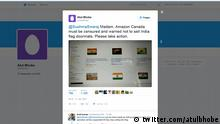 Screenshot Twitter Indien Fußmatte mit Nationalflagge