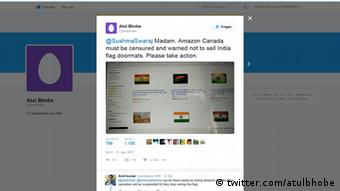Screenshot Twitter Indien Fußmatte mit Nationalflagge