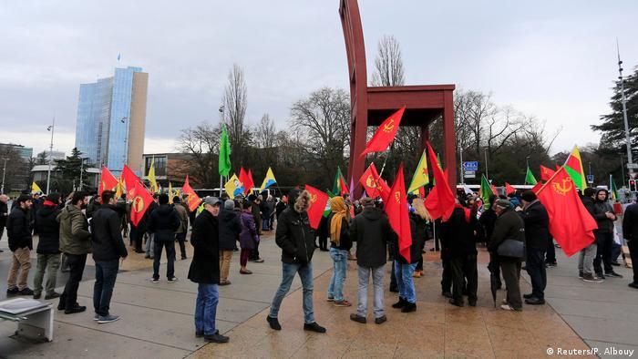 Schweiz Proteste gegen Erdogan während Zyperngespräche in Genf