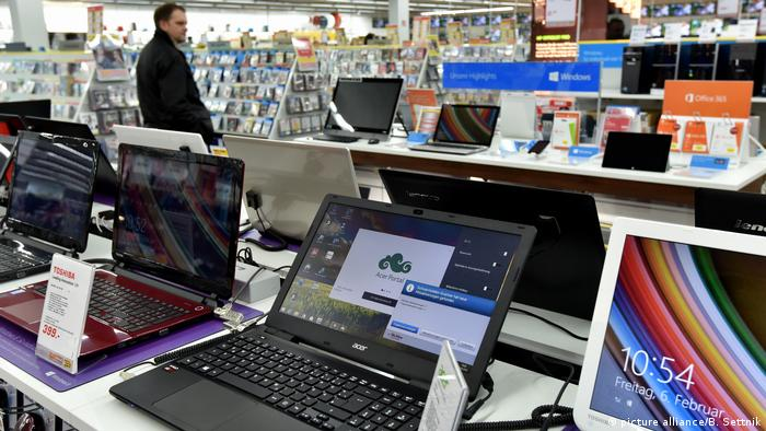 Computers for sale in an electronics store