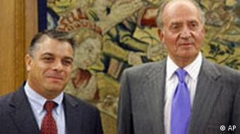 Felipe Perez Roque Außenminister Kuba mit König Juan Carlos Spanien am 14.10.2008 in Madrid