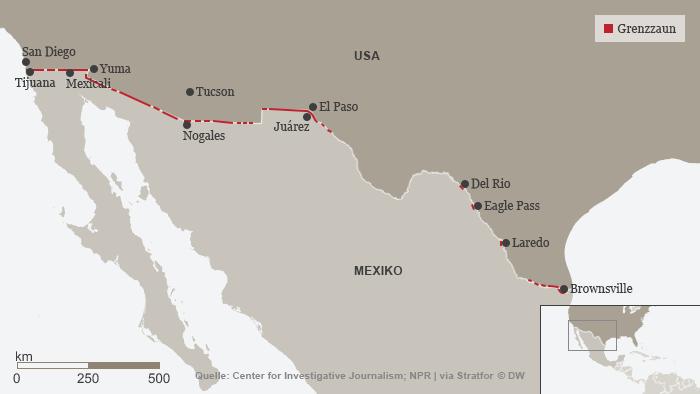 Infografik Mexiko USA Grenzzaun DEU