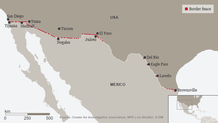 Map showing US-Mexico frontier demarcated by border fence