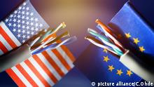 US and EU flags with cable
