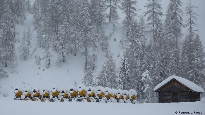 Snow in Zauchensee, Austria, covers the ground - and the resting snow canons (Reuters/L. Foeger)