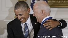 12.1.2017 WASHINGTON, DC - JANUARY 12: (AFP OUT) U.S. President Barack Obama (R) presents the Medal of Freedom to Vice-President Joe Biden during an event in the State Dinning room of the White House, January 12, 2017 in Washington, DC. (Photo by Olivier Douliery-Pool/Getty Images)
