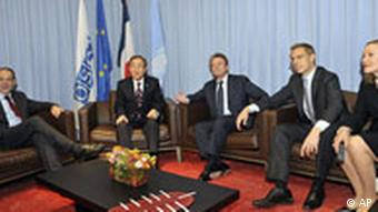 EU foreign policy chief Javier Solana, United Nations Secretary-General Ban Ki-moon, French Foreign Minister Bernard Kouchner, Finland's Foreign Minister Alexander Stubb and EU Commissioner for Foreign Relations, Austrian Benita Ferrero-Waldner, pose during a meeting on the eve of the Caucasus talks last month