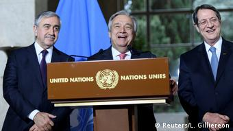 UN Secretary-General Antonio Guterres speaks next to Greek Cypriot President Nicos Anastasiades and Turkish Cypriot leader Mustafa Akinci during a press conference after the Conference on Cyprus, on the sidelines of the Cyprus Peace Talks in Geneva
