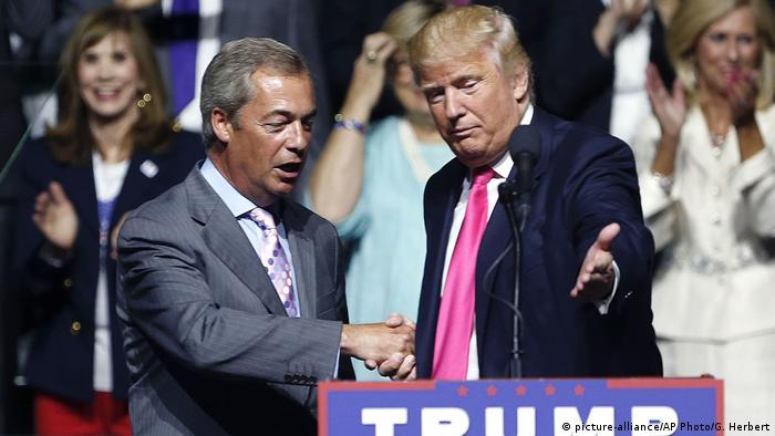 Then Republican presidential candidate Donald Trump welcomes pro-Brexit British politician Nigel Farage at a campaign rally in 2016