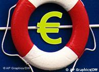The euro symbol with a life preserver around it