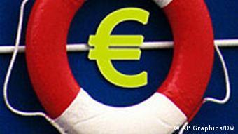 Pojas za spasavanje oko simbola eura