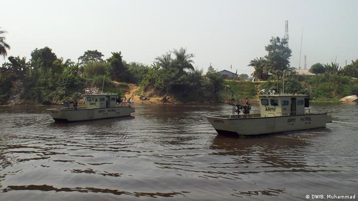 Nigeria army patrol boats in Niger Delta.