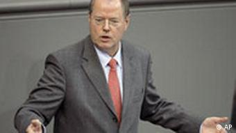 German Finance Minister Peer Steinbrueck is seen during his speech at the German Federal Parliament in Berlin, Germany, Wednesday, Oct. 15, 2008