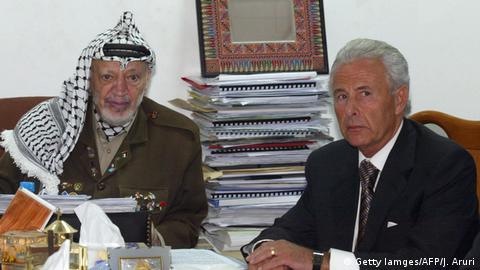 Yasser Arafat meets the UK's Middle East Commissioner Lord Levy (Getty Iamges/AFP/J. Aruri)