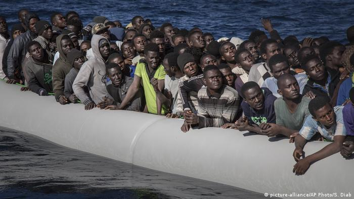 African migrants on a rubber dinghy in the Mediterranean