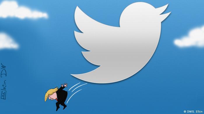 Cartoon of Donald Trump jumping from Twitter logo