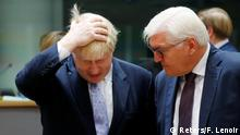 16.01.2017 **** Britain's Foreign Secretary Boris Johnson and German Foreign Minister Frank-Walter Steinmeier (R) attend a European Union foreign ministers meeting in Brussels, Belgium, January 16, 2017. REUTERS/Francois Lenoir