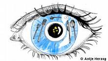 Es handelt sich um einen DW-Auftrag. Sprichwörter Illustrationsprojekt Teil 3. Das Auge isst mit. Copyright: Antje Herzog
